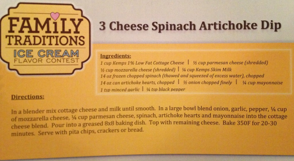 3 cheese spinach artichoke dip recipe from kemps