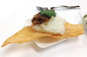 orange beef tostada appetizer