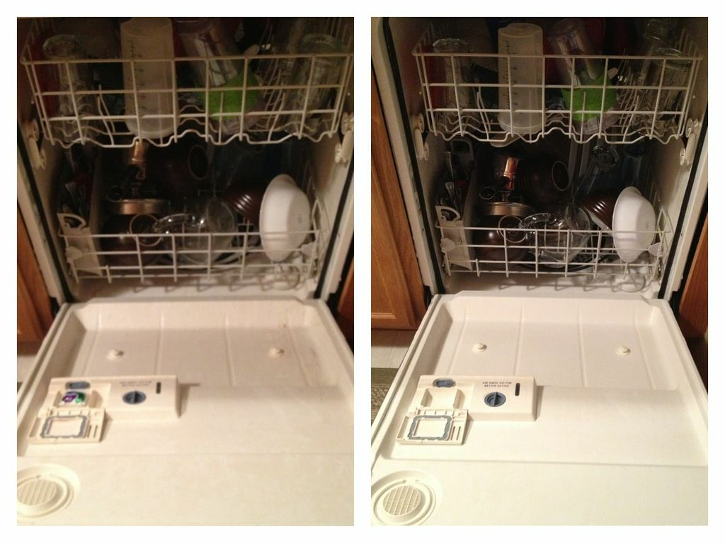 before and after dishwashing with cascade