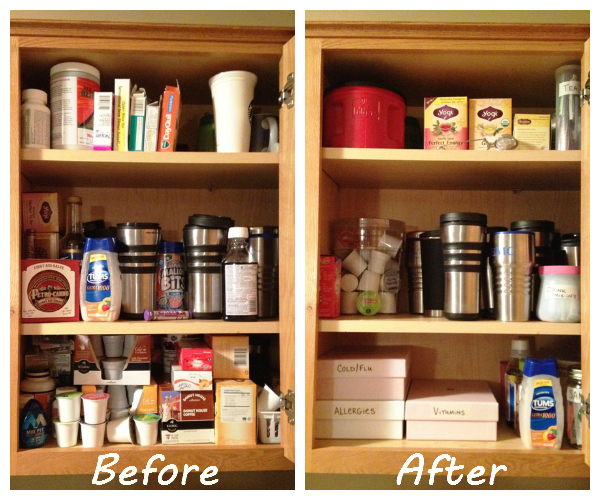 before after organized cupboards