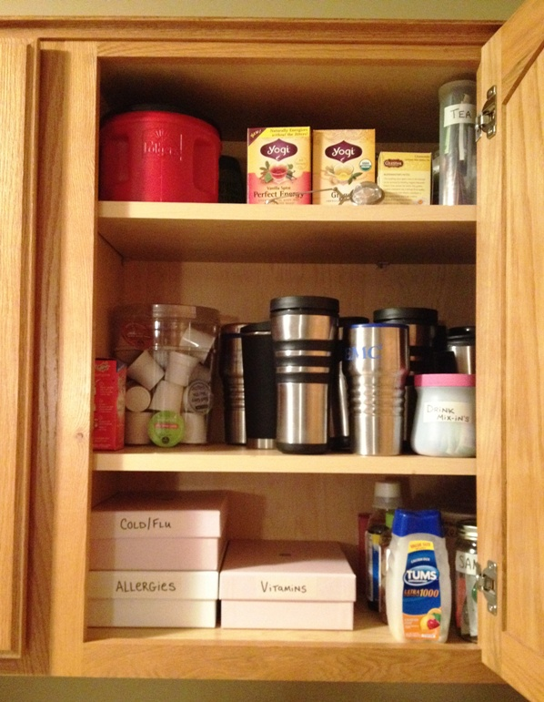 organized cupboard after