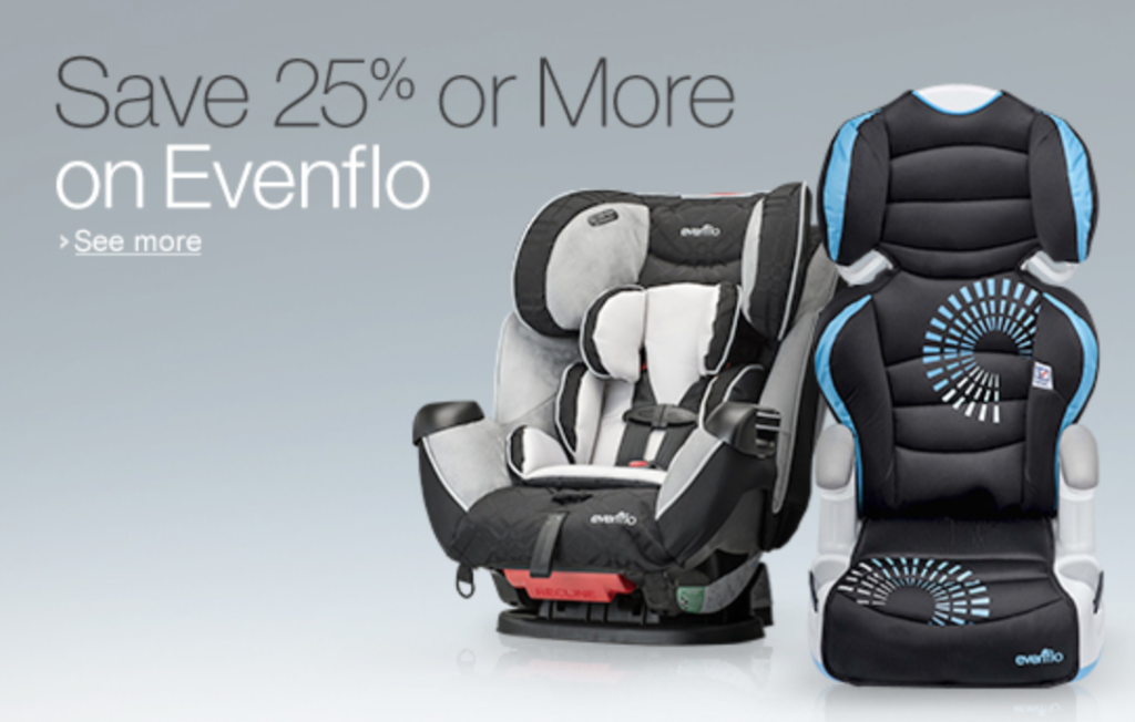 25% off evenflo car seats